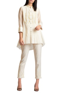 Embroidered top with pleat detail