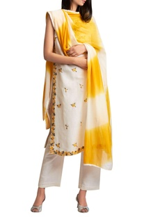 Embroidered kurta with palazzo pants and shaded dupatta