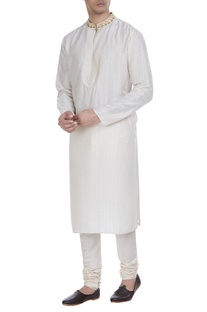Block printed tussar silk kurta with churidar
