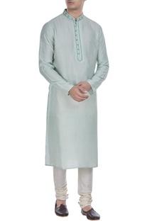 Block printed tussar silk kurta set