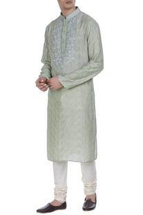 Tussar silk kurta with te-dye work