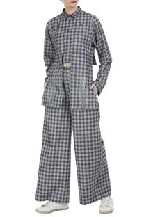 Checkered hand embroidered shirt