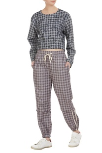 Checkered cotton jogger pants