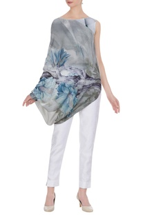 Floral printed draped style tunic
