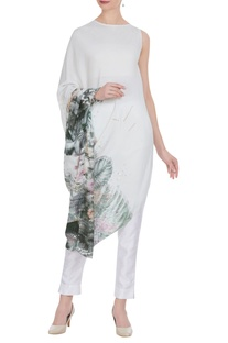 Floral sequin embroidered draped tunic