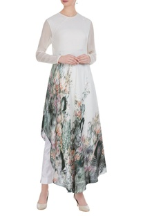 Abstract floral printed sequin long tunic