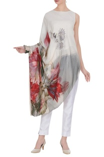 Draped style floral printed tunic