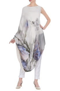 Floral & bird printed sequin work tunic