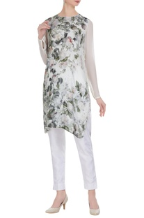 Moss crepe floral printed tunic