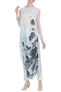 Psychedelic floral printed draped tunic