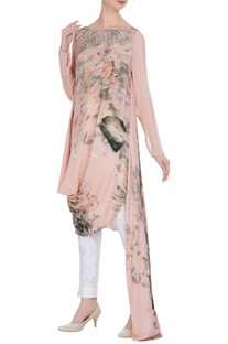Floral printed sequin draped layer tunic