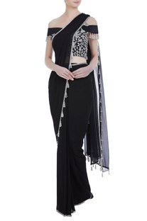Floral embroidered tassel border pre stitched sari with raw silk blouse