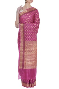 Classic hand woven sari with unstitched blouse