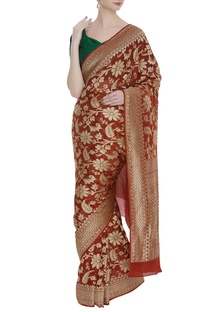 Hand woven georgette sari with unstitched blouse
