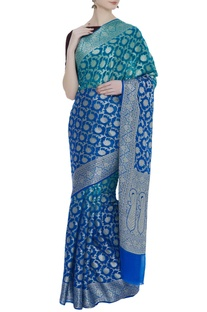 Handwoven georgette sari with unstitched blouse
