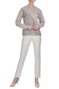 Linen dual color tone blouse