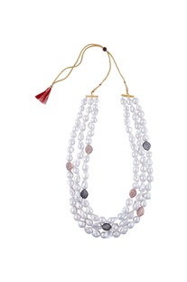Baroque pearl statement long necklace