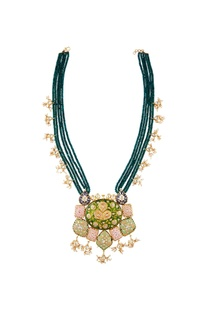 Multicolored meenakari pendant long necklace