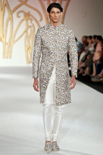 Leaf motif printed sherwani with churidar