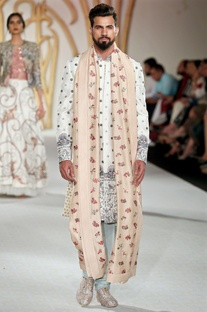 Embroidered sherwani with churidar and stole