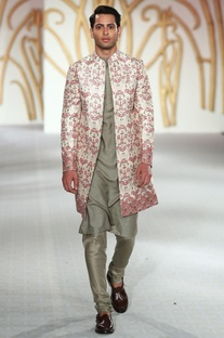 Printed sherwani with kurta and churidar