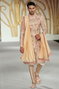 Raw silk floral embroidered sherwani set