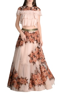 Floral sequin lehenga with tiered blouse