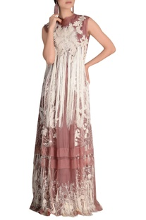 Fringe embroidered floor length gown