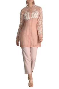 Cord & sequin embroidered organza blouse