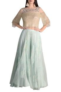 Organza bugle bead embroidered skirt