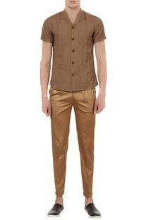Linen cuban collar shirt