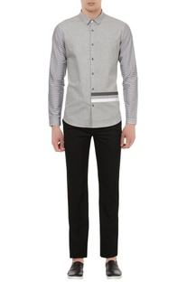 Pure cotton shirt with stripe sleeves