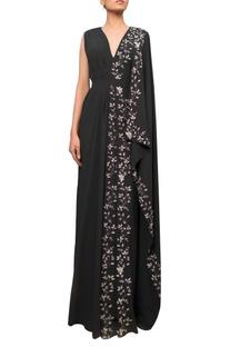 Draped sari gown with dabka embroidery