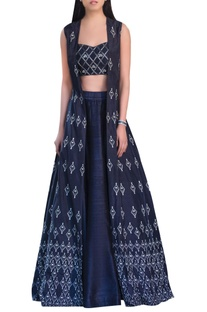 Sequin embellished raw silk lehenga set