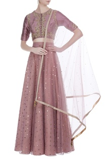 Threadwork crop top with lehenga and dupatta