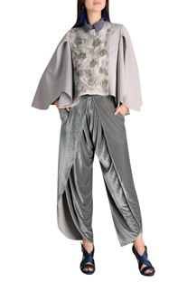 Velvet draped dhoti pants