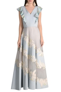 Ruffle layered gown with cord embroidery