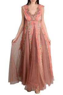Threadwork embroidered flared gown