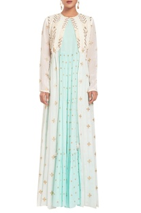 Thread embroidered front open jacket with dress