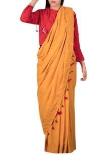 Mulmul sari with floral embroidered borders