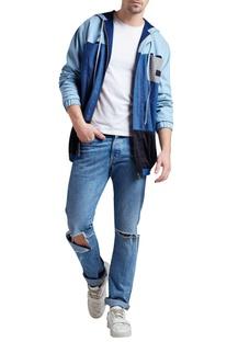 Denim panel style hoodie jacket