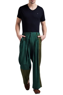 Linen box pleated flared pants
