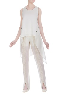 Handloom chanderi hand embroidered asymmetric blouse