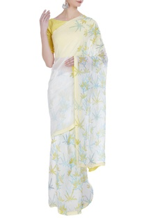 Floral hand painted sari with unstitched blouse