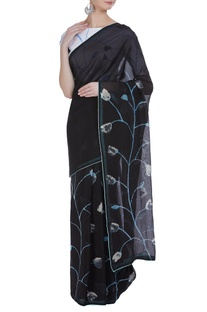 Hand painted tulip sari with unstitched blouse