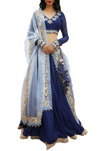Embroidered blouse and dupatta with border detail lehenga