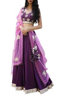 Embroidered blouse with lehenga and dupatta