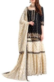 Zari & sequin hand embroidered kurta-gharara set