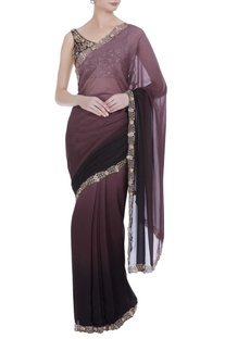 Zardozi and mirror work ombre sari with blouse