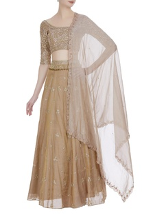 Beige hand embroidered lehenga set